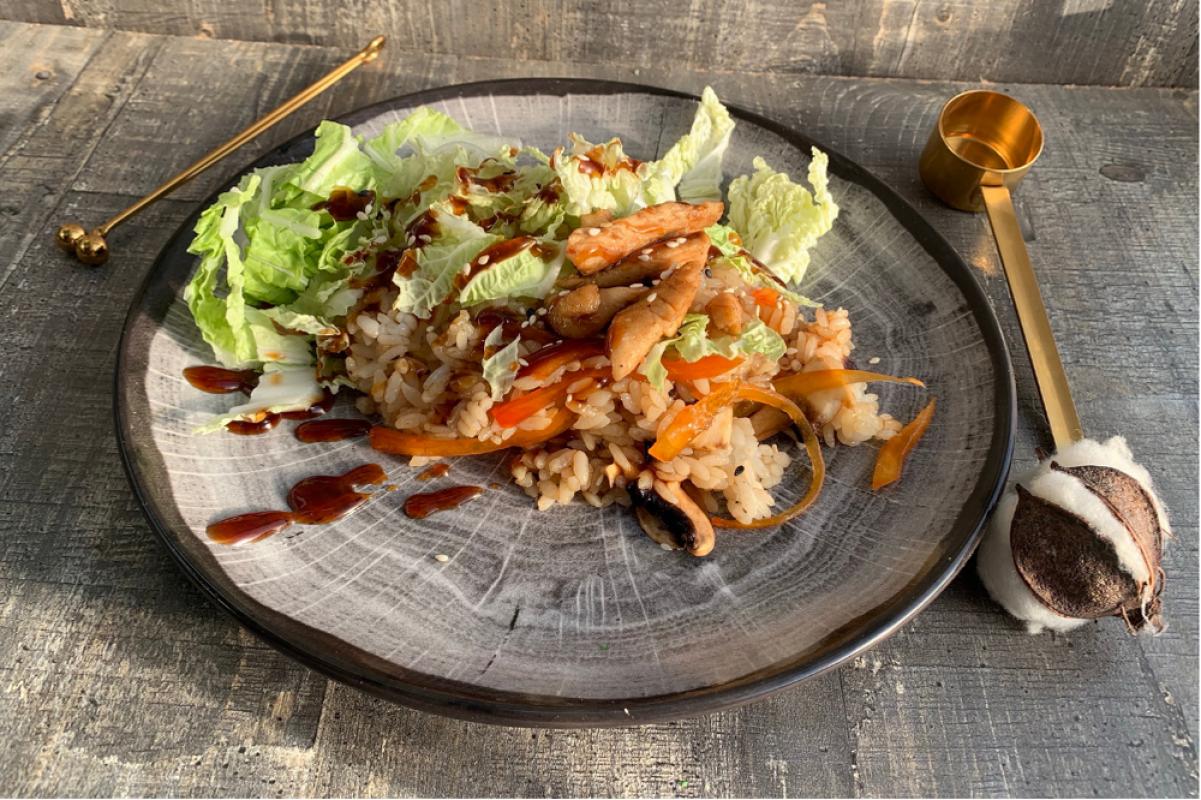 Рис с курицей и овощами
