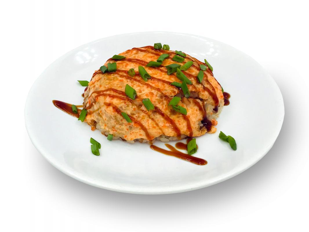 Рис с лососем терияки под сырным соусом