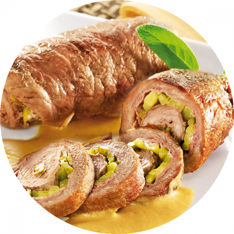 Ролл из свинины с оливками и авокадо