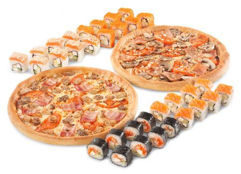 "Комбо ""Квадро"" 4 ролла + 2 пиццы"
