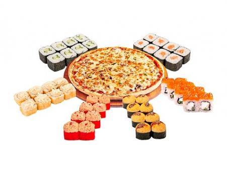 """Комбо """"Великолепная семёрка"""" 6 роллов + 1 пицца"""