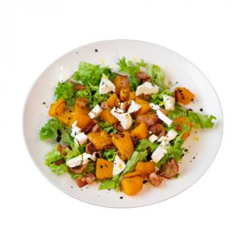 Салат с печёной тыквой и беконом