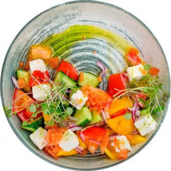 Овощной салат с томатной гранитой