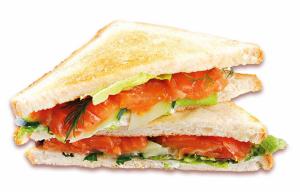 Сэндвич Клаб с семгой холодного компчения (2 сэндвича в порции)