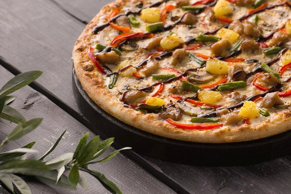Пицца «Морская Терияки» на тонком тесте 30 см