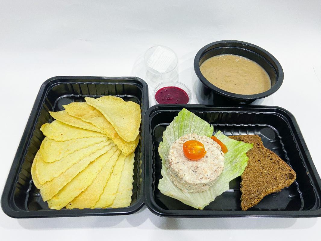 ЛАНЧ №6 (паштет из тунца+крем-суп из шампиньонов+блинчики с джемом)