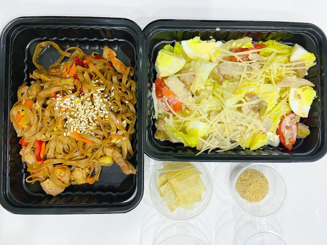 """ЛАНЧ №7 (салат """"Цезарь""""+соба +конфета """"Рыжик"""")"""