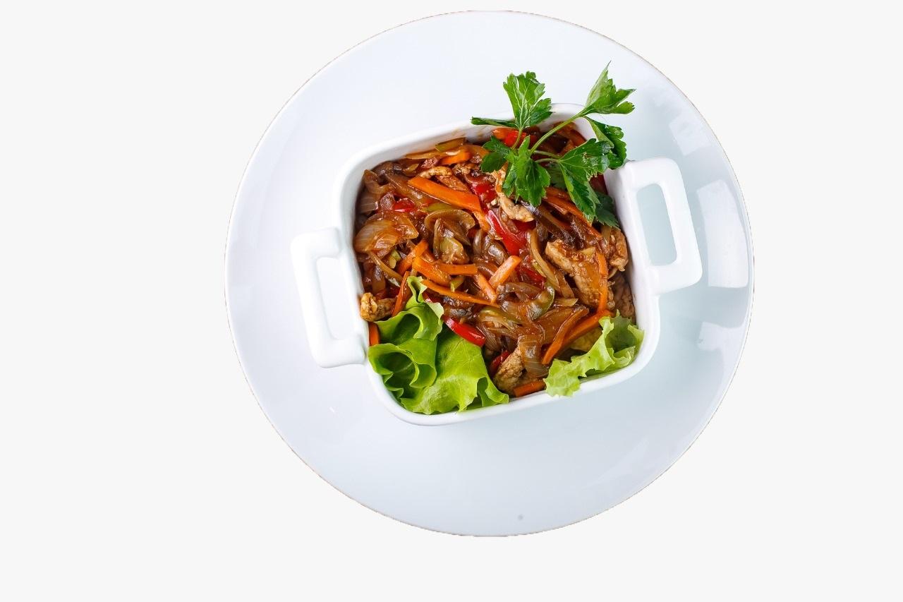 Острая свинина с овощами 160гр