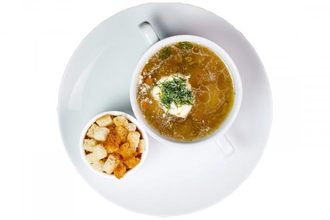 Суп грибной с  гренками 250 г